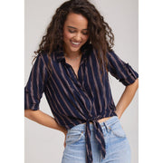 BELLA DAHL - Navy Front Button Down - Top - B4026-A17-1