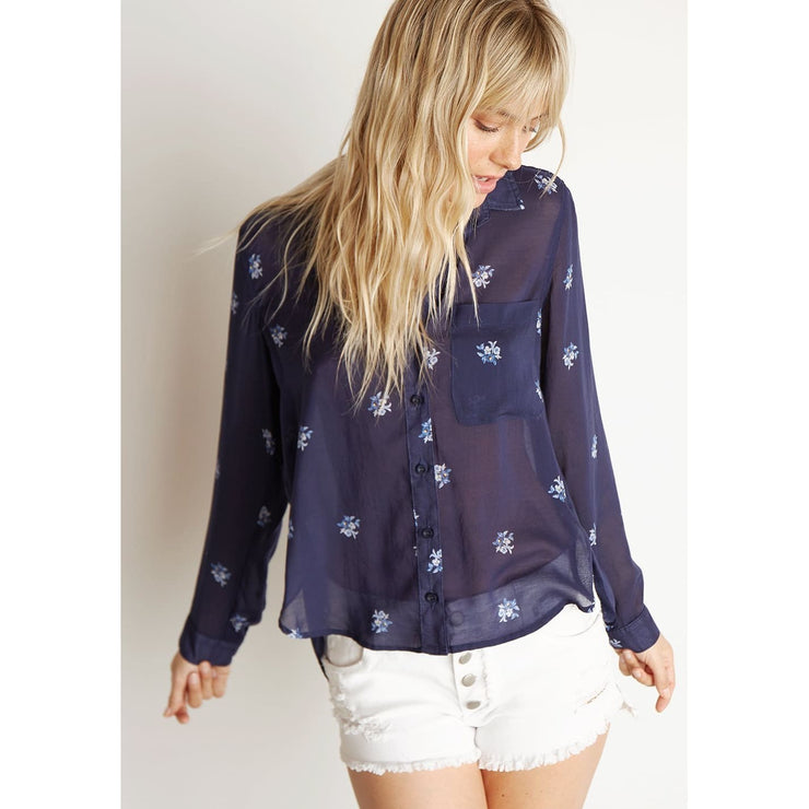 BELLA DAHL - Round Hem Button Down Space Floral Print - Top - B2666-078