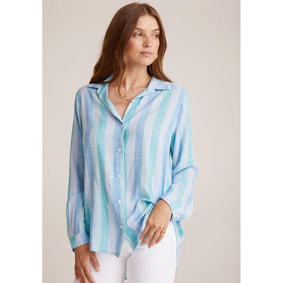 BELLA DAHL - Stripe Button Down Shirt Blue Teal - Top - W2027-A93-304-1