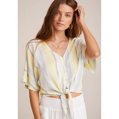 BELLA DAHL - Tie FrontTop in Sunny Lime Stripe - Blouses - B4471-B20