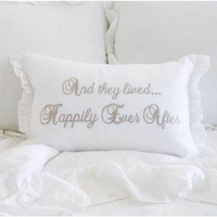 CROWN LINEN - They Lived Happily Ever After Linen Decor Pillow - Home + Bath