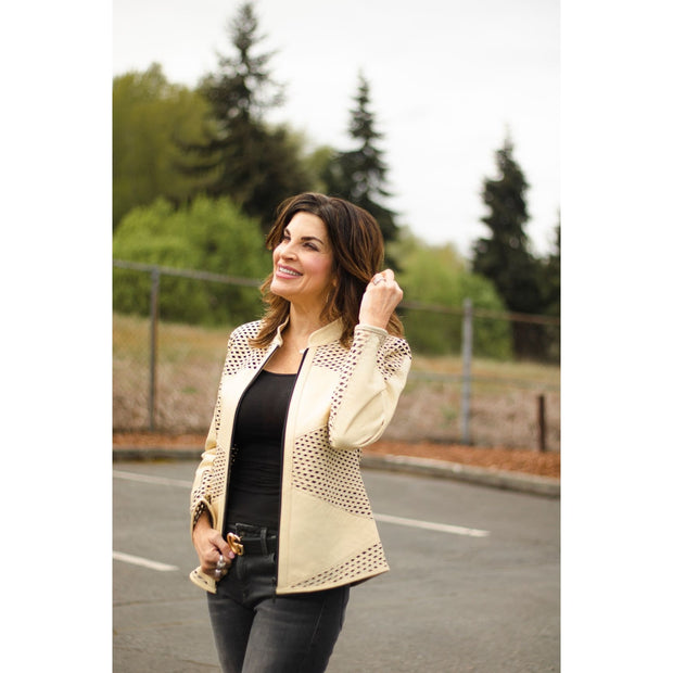 Divalani Style - Aby Light Gold Leather Jacket - Leather Jackets