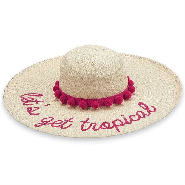 Divalani Style - Lets Get Tropical Straw Pom-Pom Hat - Women