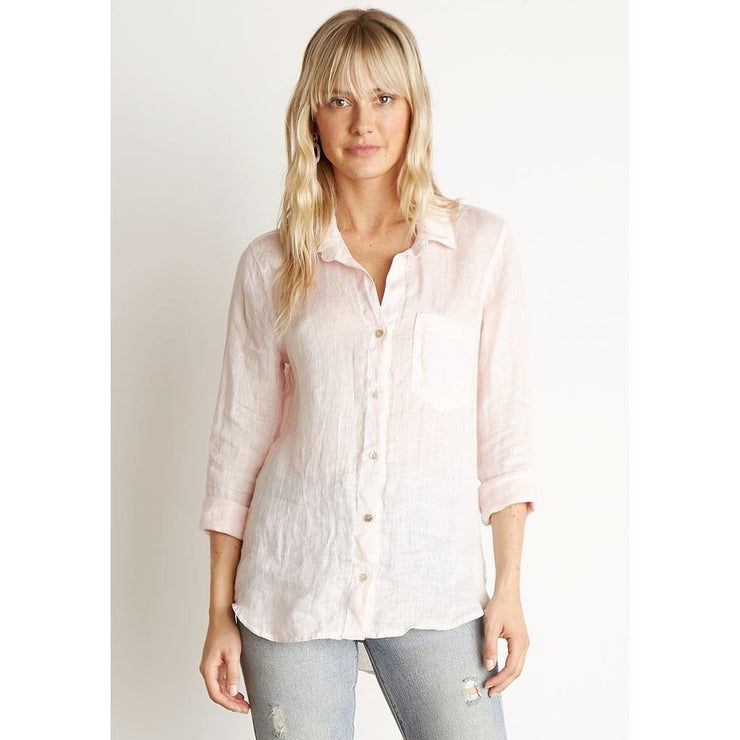 Divalani Style - Pocket Button Down Shirt Barely Pink - W2808-653