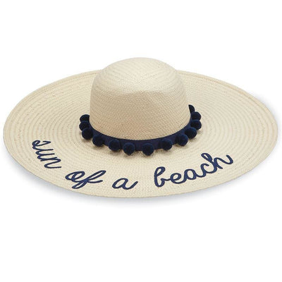 Divalani Style - Sun Of a Beach Straw Pom-Pom Hat Navy Detail - Women