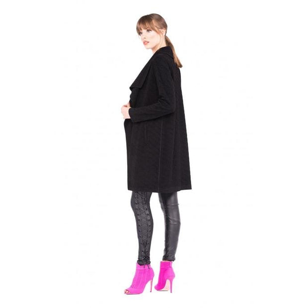Eva Varro - Wrap Collar Coat Square Jacquar Black - Women - J12863