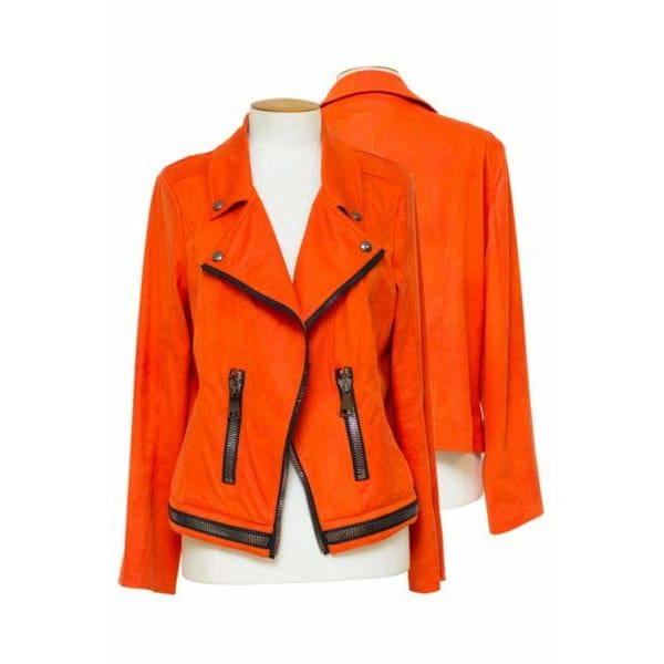 Frank Lyman - 196085U Frank Lyman Orange Motorcycle Jacket - Jacket