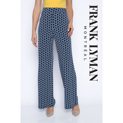 Frank Lyman - 196288 Black/Blue Wide Leg Pant - Pants - 196288