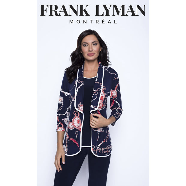 Frank Lyman - 201325 Navy/Red Knit Jacket - Jacket - 201325