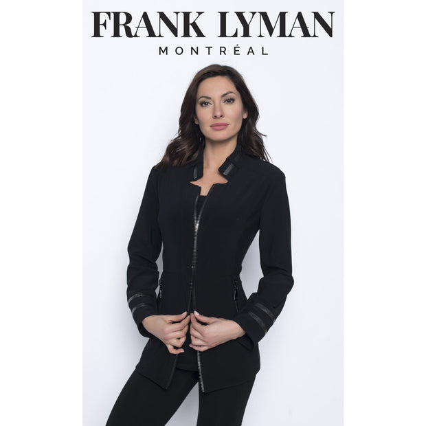 Frank Lyman - 203037 Long sleeve Black Gunmetal Jacket with zipper Detail - Jackets and Coats
