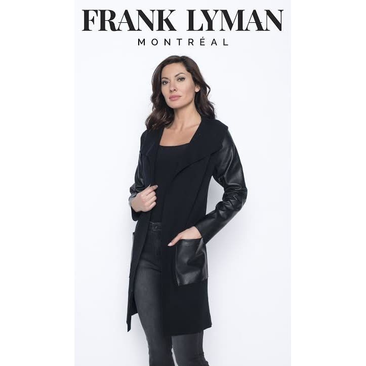 Frank Lyman - 203123U Black Knit Cardigan with Faux Leather Patches - Cardigan
