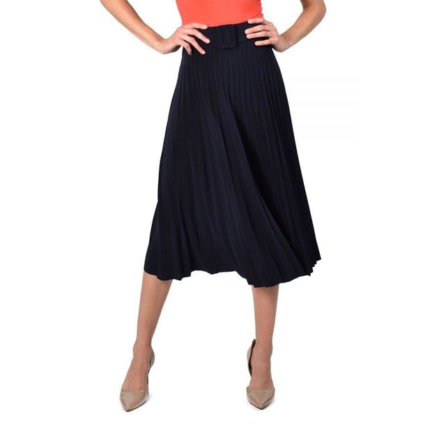Frank Lyman - 216022 Navy Pleated Skirt - Skirts
