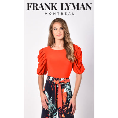 Frank Lyman - 216070 Orange Ruffle Sleeve Top - Shirt
