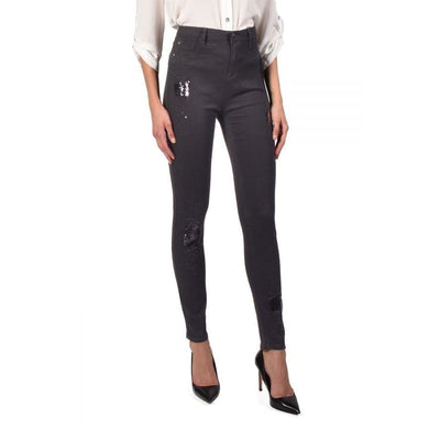 Frank Lyman - 216115U Black Sequin Patch Jeans - Jeans