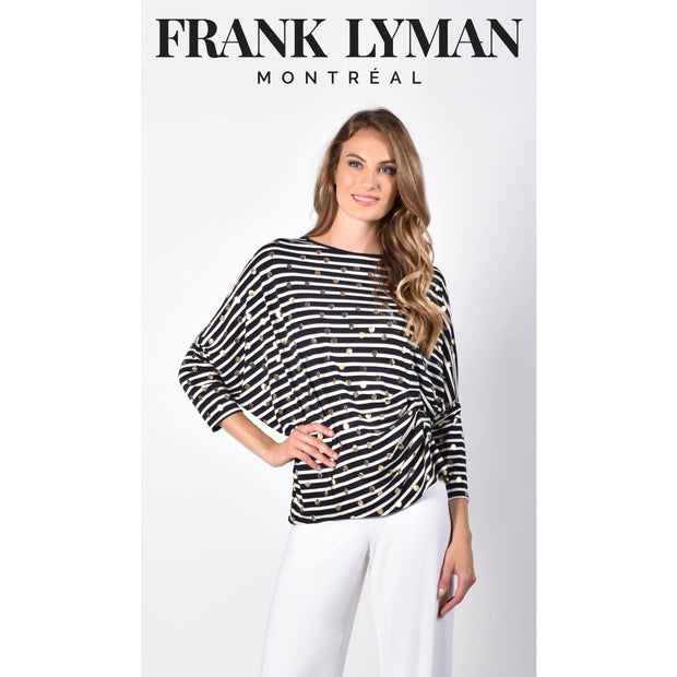 Frank Lyman - 216237 Navy & White Striped Tunic With Gold Polka Dots - Shirt