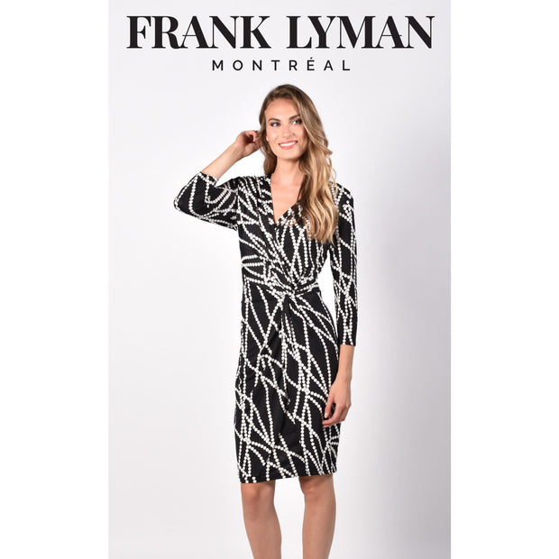 Frank Lyman - 216454 Black and White Knit Dress - Dress