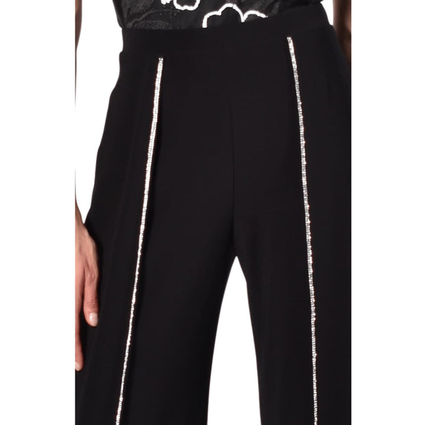 Frank Lyman - 218004 Wide Leg Black Pant with Rhinestone Trim - Pants