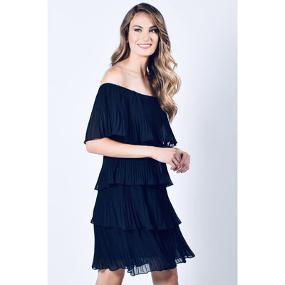 Frank Lyman - 218157 Navy Pleated Off the Should Dress - Dress