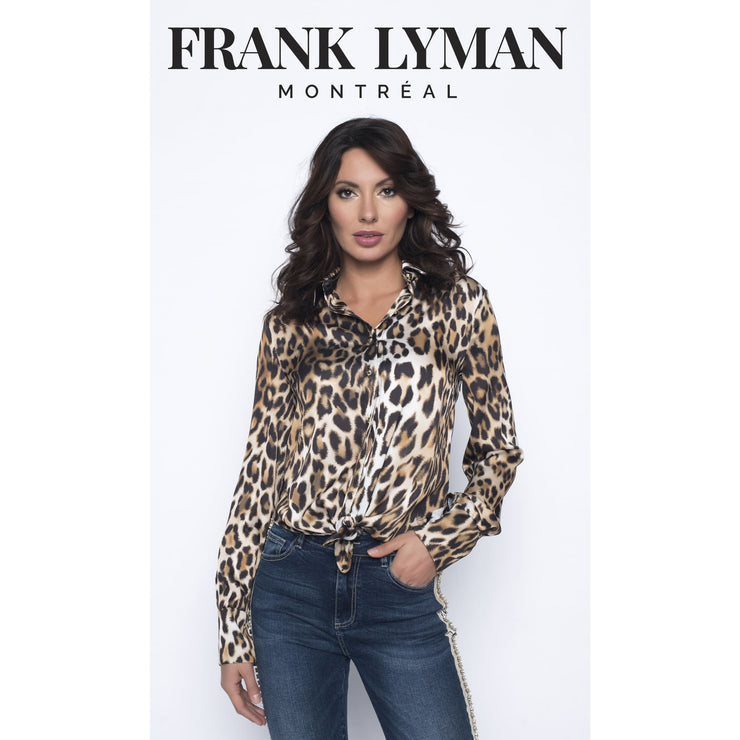 Frank Lyman - Animal Print Long Sleeve Blouse - Top - 193527-1