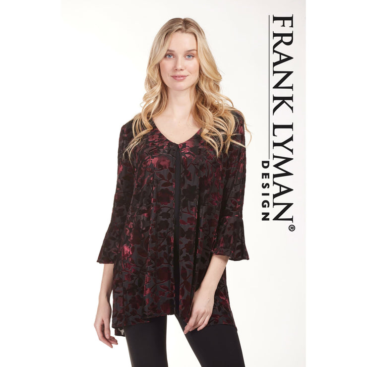 Frank Lyman - Black and Red Velvet Patterned Top - Top - 183781-1