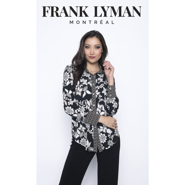 Frank Lyman - Black and White Floral Print Button Down Top - Top - 193501