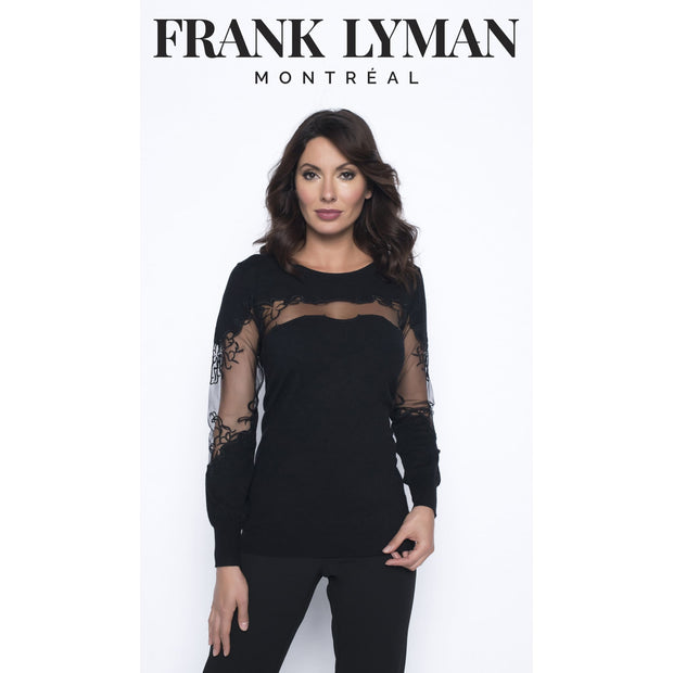 Frank Lyman - Black Knit Sweater with Mesh Detailing - Top - 193101U-1