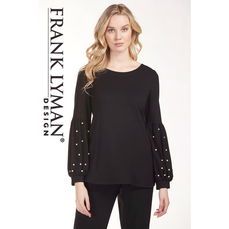 Frank Lyman - Black Knit Top with Pearl Detailing - Top - 183908-1