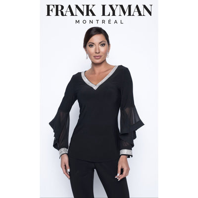 Frank Lyman - Black Knit Top with Sparkle Accents - Top - 199188-1