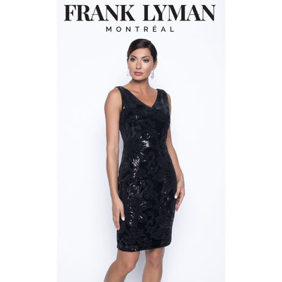 Frank Lyman - Black Knit Velvet Sparkly Dress - Dress - 199336-1