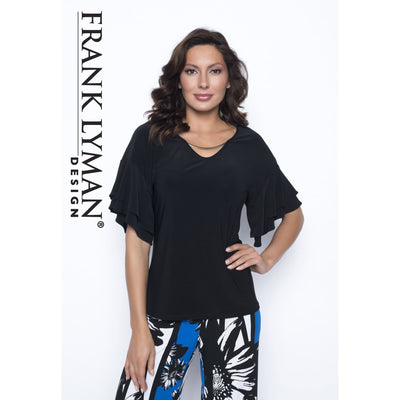 Frank Lyman - Black Short Sleeve Top - Top - 186005-1