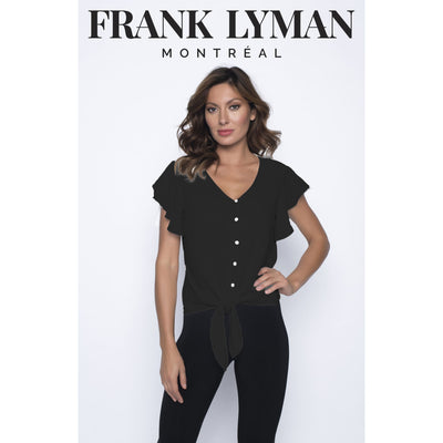 Frank Lyman - Black Woven Top with Ruffle Sleeves - Top - 190235-1