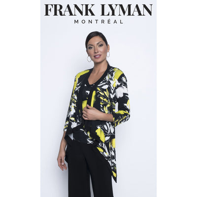 Frank Lyman - Black/Lemon Knit Throw Over Top - Top - 196365