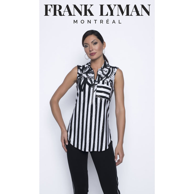 Frank Lyman - Black/white stripe sleeveless top - Top - 196484