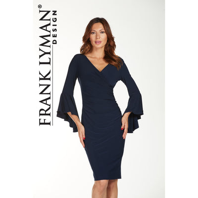 Frank Lyman - Blue Faux Wrap Dress - Dress - 176026-1