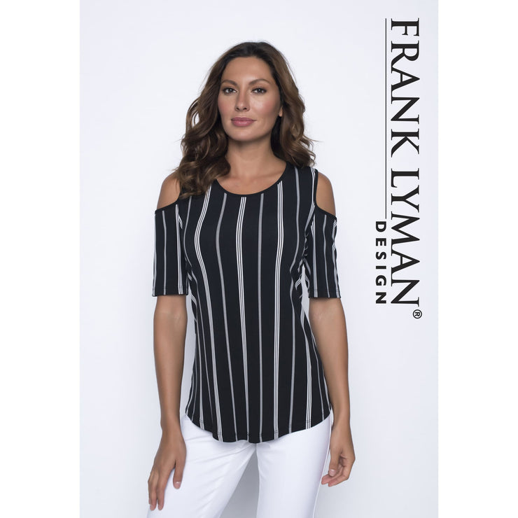 Frank Lyman - Cold Shoulder White and Black Striped Top - Top - 191429-1