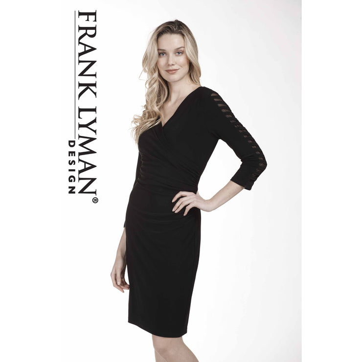 Frank Lyman - Faux Black Wrap Dress with Slits in Sleeves - Dress - 183064-1