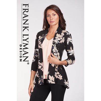 Frank Lyman - Floral Cardigan with 3/4 Sleeves - Cardigan - 186587-1