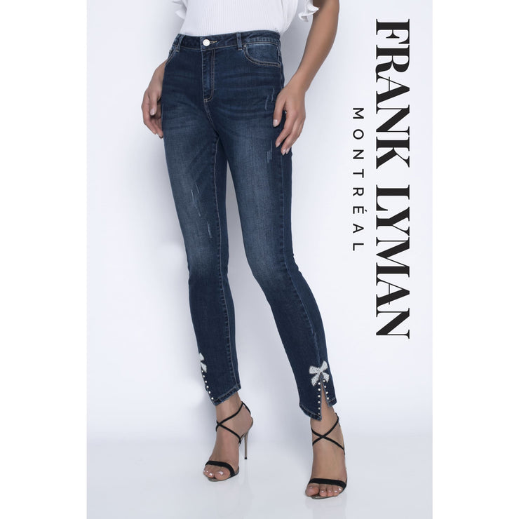 Frank Lyman - High-Rise Dark Denim with Ankle Bow Detail - Pants - 196104U-1