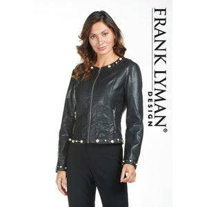 Leather Jacket With Pearl and Metal Detail