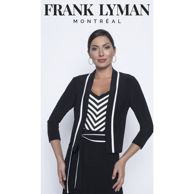 Frank Lyman - Short Black 3/4 slv Jacket with White trim Detail - Top - 196064-1