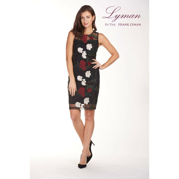 Frank Lyman - Sleeveless Rose Embroidery Dress - Dress - 189344-1