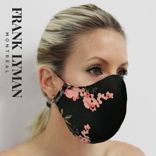 Frank Lyman - Unisex Adult Mask in Black Pink Small Floral Print - Mask