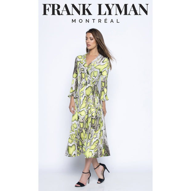 Frank Lyman - Yellow/Taupe Abstract Snake Print wrap Dress - Dress - 196307-1