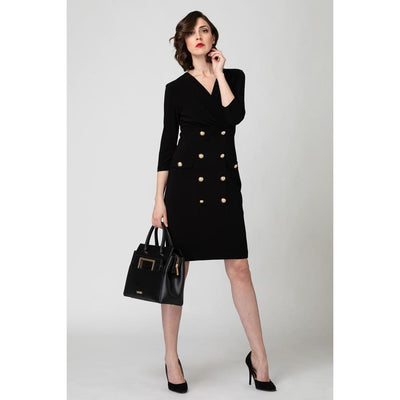 Joseph Ribkoff - 193014 Joseph Ribkoff Black Dress with Gold Buttons - Dress