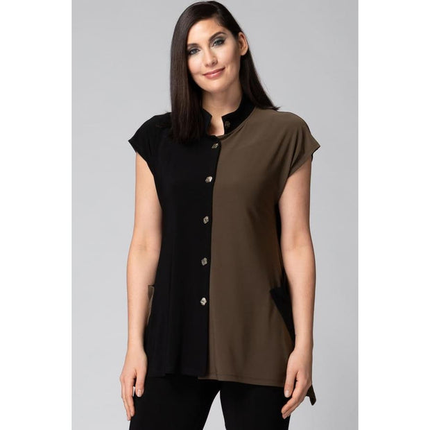 Joseph Ribkoff - 193080 Joseph Ribkoff Color Block Shirt Dress - Dress