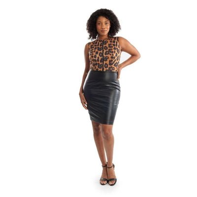 Joseph Ribkoff - 1935454 Joseph Ribkoff Leopard Leather Dress - Dress