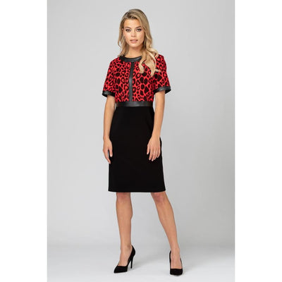 Joseph Ribkoff - 193696 Red and Black Leopard Dress by Joseph Ribkoff - Dress