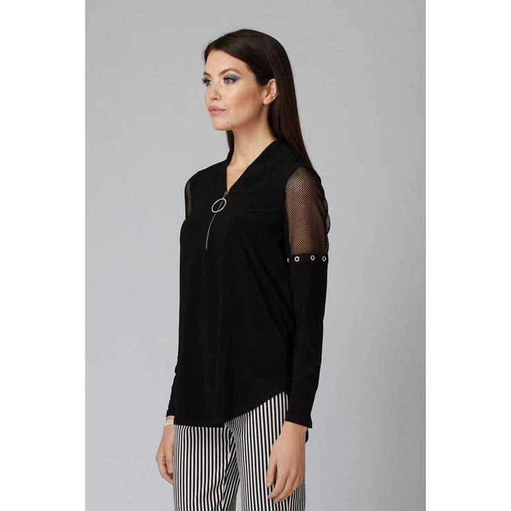 Joseph Ribkoff - 201064 Black Top With Mesh Shoulder Detail - Top - 201064