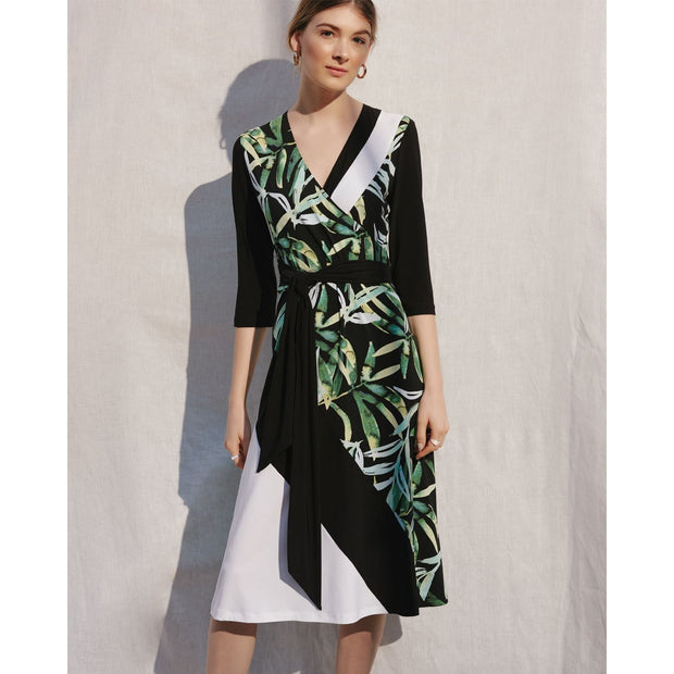 Joseph Ribkoff - 201175 Black/White/Green 3/4 Slv Dress - Dresses - 201175