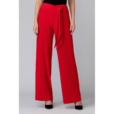 Joseph Ribkoff - 201254 Pleated Lipstic Red Palazo Pants - Pants - 201254
